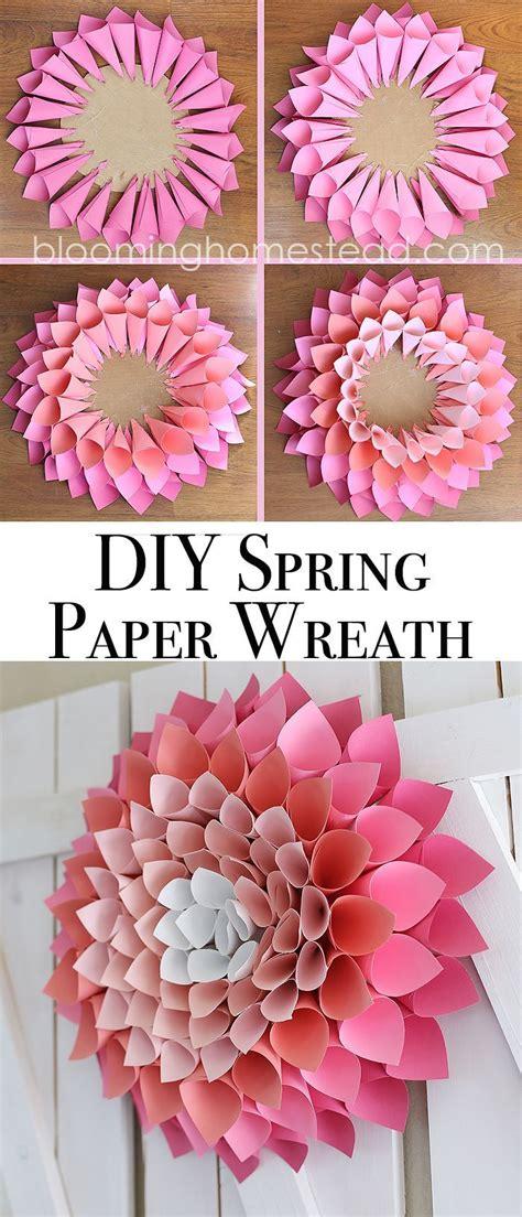 spring diy diy spring wreath page 2 of 2 paper dahlia