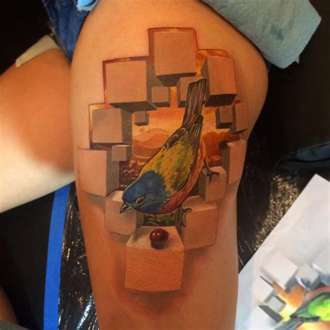3d tattoo thigh 3d bird thigh tattoo best tattoo design ideas