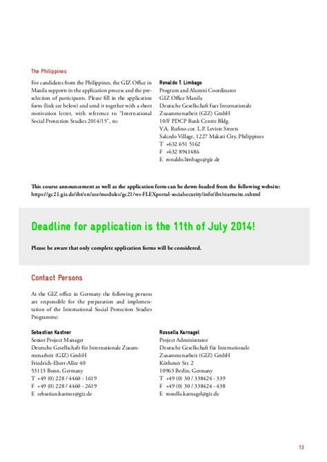 sending a letter isps course announcement 2014 15 giz 1619