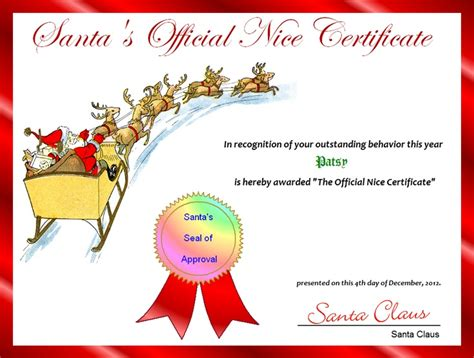 free printable santa nice list certificate template hot