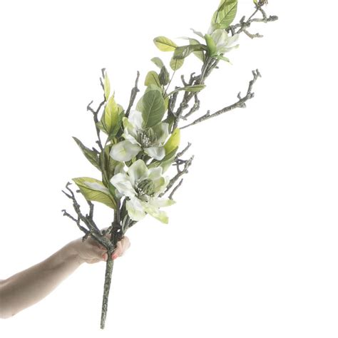 white artificial magnolia branch picks and stems
