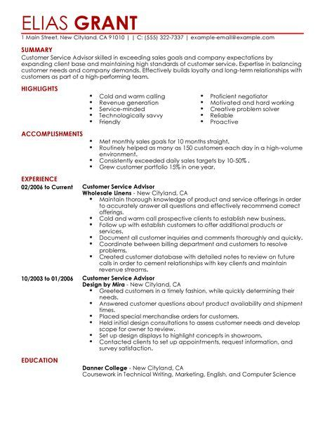 free sle customer service resume best sales customer service advisor resume exle
