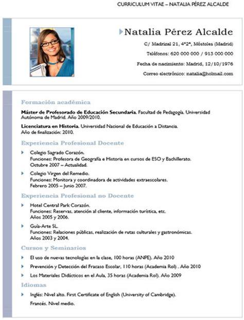 Plantilla De Curriculum Vitae De Profesores Curriculum Profesor N 186 1 Cvexpres