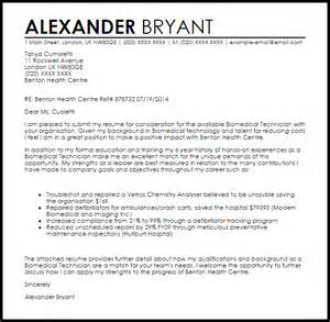 Biomedical Engineering Manager Cover Letter by Biomedical Technician Cover Letter Sle Livecareer