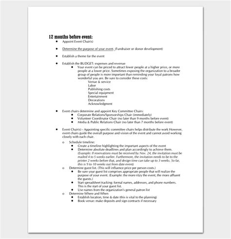 Event Program Outline 13 Printable Sles Exles Formats Program Event Planning Template