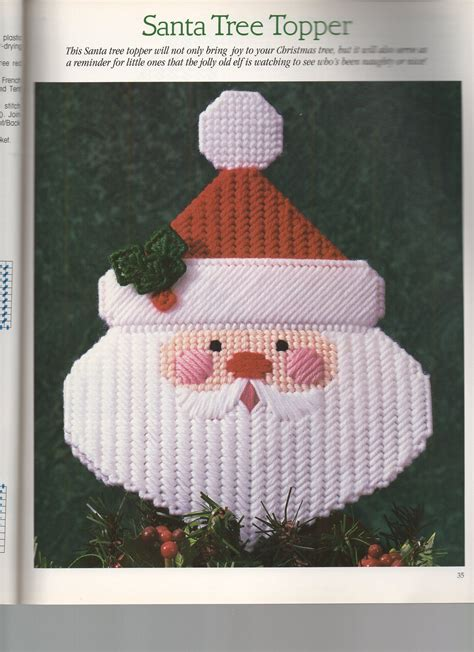 patterns for christmas tree toppers santa tree topper 1 plastic canvas christmas pinterest