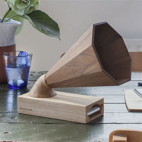 beautiful handcrafted wooden amplifier  acts   speaker   iphone  wood