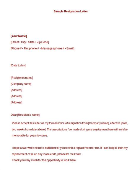 Formal Resignation Letter Template Word Doc Formal Resignation Letter 10 Free Word Pdf Documents Free Premium Templates