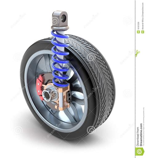 wheel shock absorber and brake pads royalty free stock
