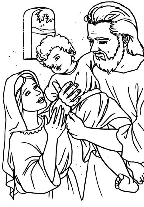 coloring pages of jesus in nazareth saint joseph holding jesus holy family at nazareth