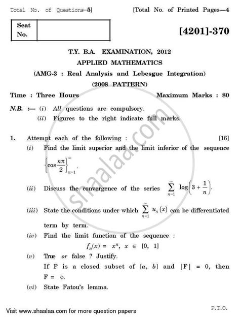 Mathematics Gp Essay by Question Paper Applied Mathematics General Paper 3 Real Analysis And Lebesgue Integration