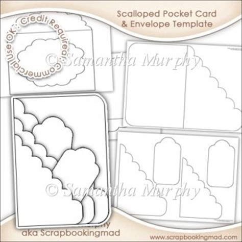 pocket card template scalloped pocket card envelope template commercial use