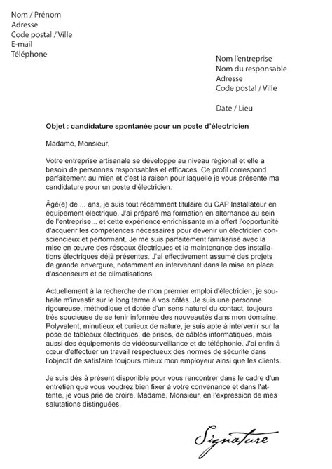 Lettre De Motivation De Electricien Lettre De Motivation 201 Lectricien Mod 232 Le De Lettre