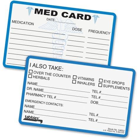 Wallet Size Medication Card Template by Medication Card For Wallet Baskan Idai Co