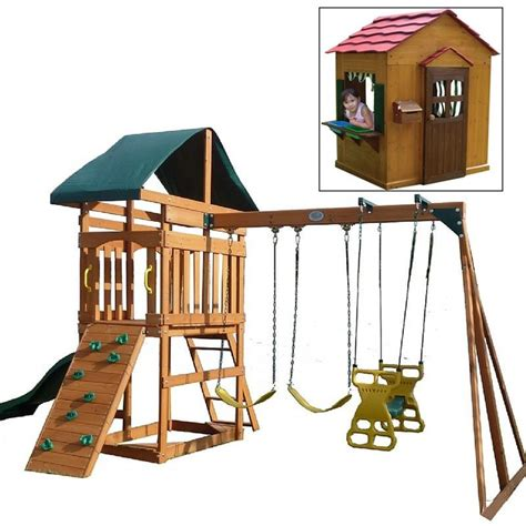 playhouse swing sets playhouse with swing set for the home pinterest