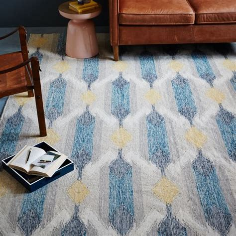west elm blue rug teardrop ikat kilim rug blue lagoon west elm
