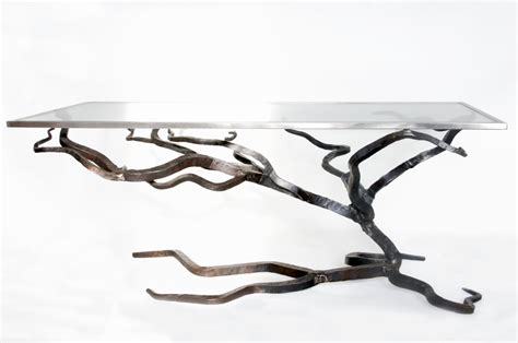 Glass and Metal Coffee Table Forged Sofa Table Blacksmiths