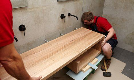 how to install bathroom vanity against wall d i y floating hardwood vanity bunnings warehouse nz