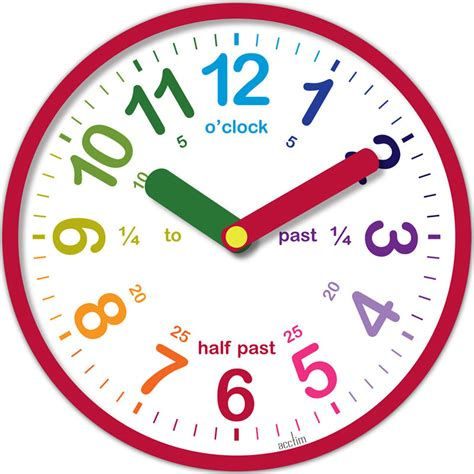 printable learning clock minieco co uk acctim lulu teaching time wall clock red educational aid