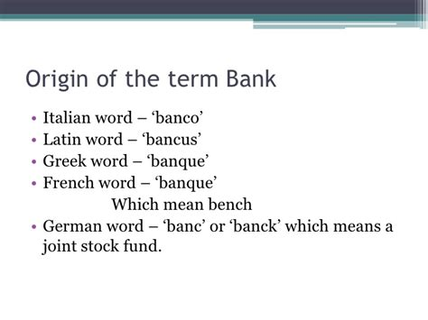 origin of the word banking and financial institutions