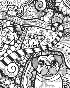 instant download coloring pug dog art print zentangle inspired doodle art printable