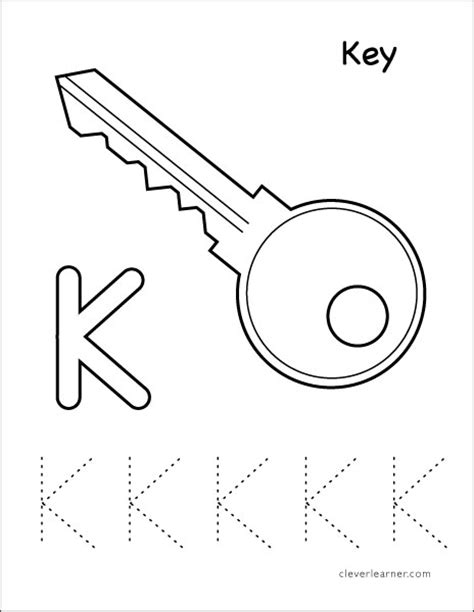 key coloring pages preschool letter k writing and coloring sheet
