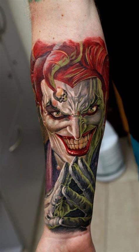 joker tattoo on arm colored ink joker forearm tattoo for women