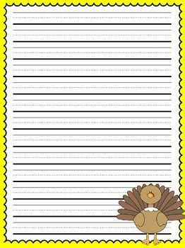 turkey writing paper primary lined thanksgiving writing paper thanksgiving