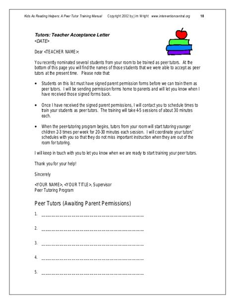 Parent Letter For Tutoring Peer Tutormanual