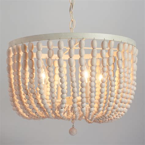 wood bead ceiling light antique whitewash wood bead chandelier market
