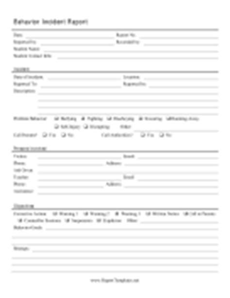employee behavior incident report template report templates