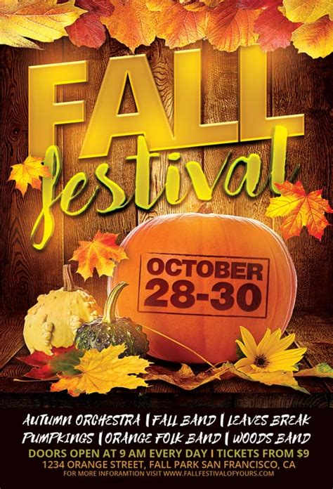 Top 25 Autumn Flyer Templates Collection Download For Photoshop Fall Festival Flyer Template