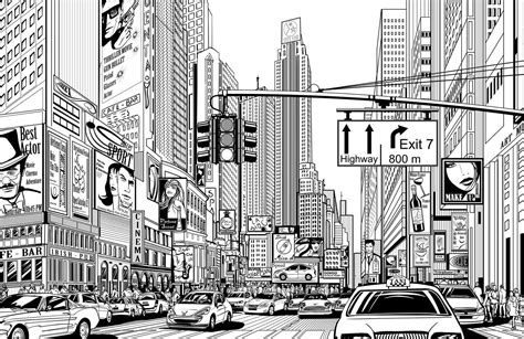 city background drawing illustrated nyc mural wallpaper muralswallpaper co uk