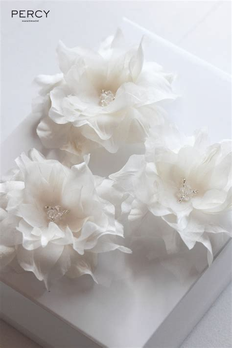 Percy Handmade - ivory silk hair flowers for jules percy handmade