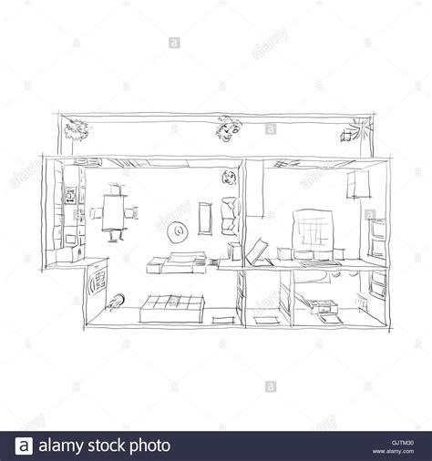 Wohnung Zeichnung by 2d Zeichnung Innenraum Freihand Skizze Draufsicht