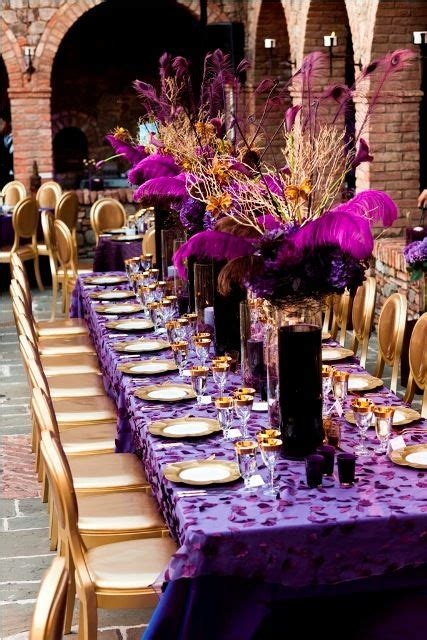 purple gold wedding decor  decorating centerpieces