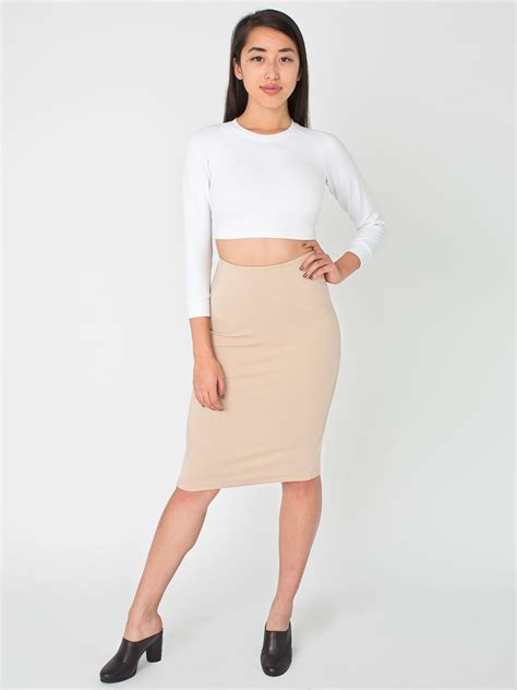 ponte mid length pencil skirt american apparel