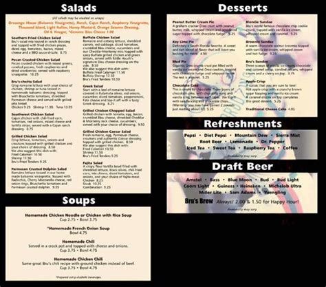 brus room menu menu for bru s room sports grill 35 ne 2nd ave