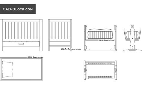 bed templates for autocad free cad blocks of baby cradles in autocad 2d dwg models