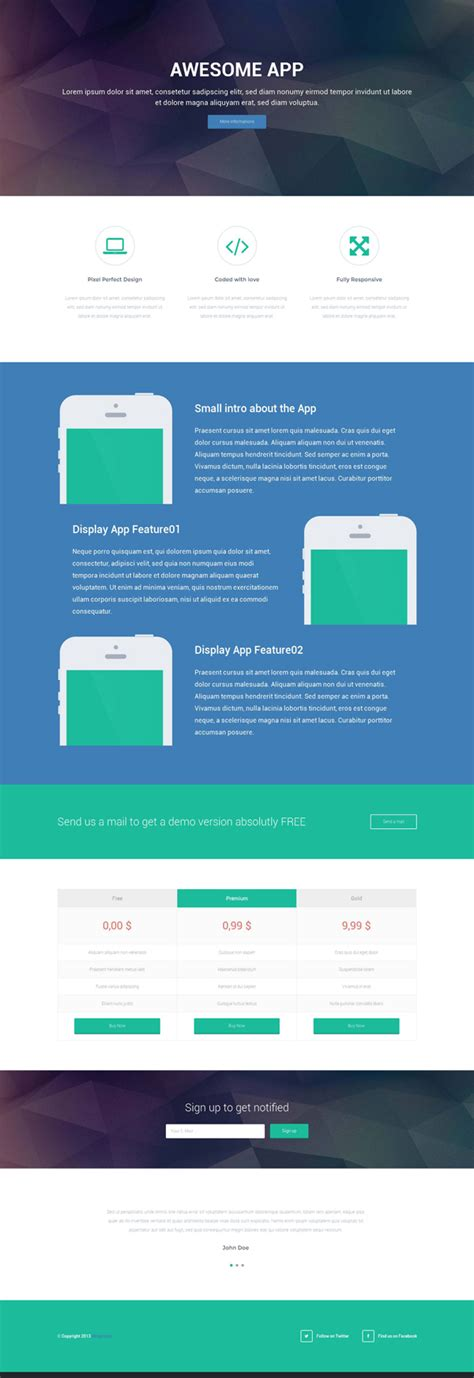 free responsive landing page template responsive landing page html template psdblast