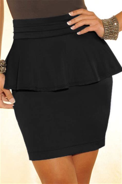 Rok Peplum Mini Polospeplum Mini Skirt peplum solid black polyester sheath mini skirt skirts bottoms lovelywholesale
