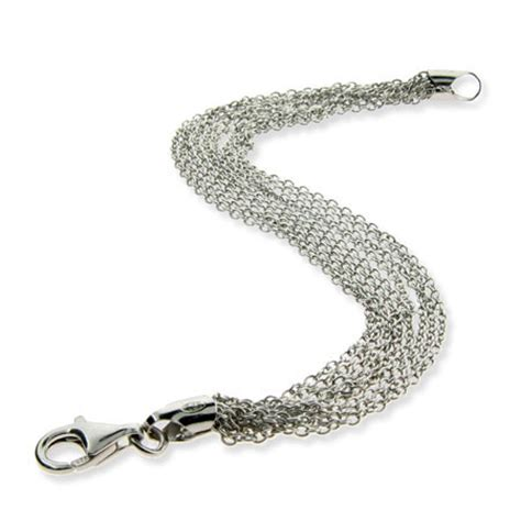 sterling silver layered multi strand chains bracelet