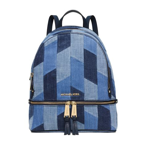 Denim Backpack michael kors rhea medium mosaic patchwork denim backpack in blue lyst