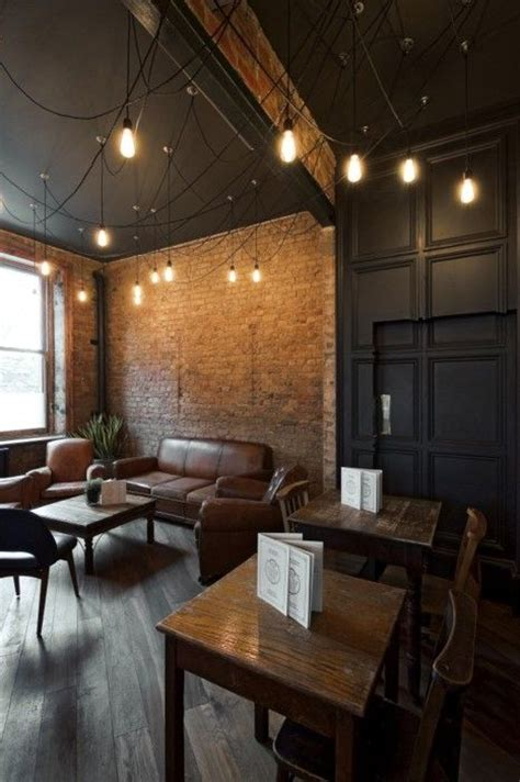 exposed brick wall lighting dining cafe pinterest