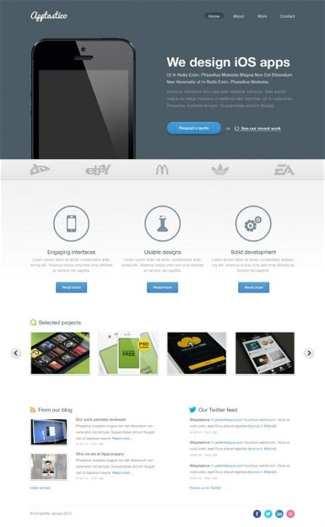 ios application templates ios apps website template psd file free