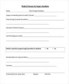 clearance for surgery template sle clearance form application of the