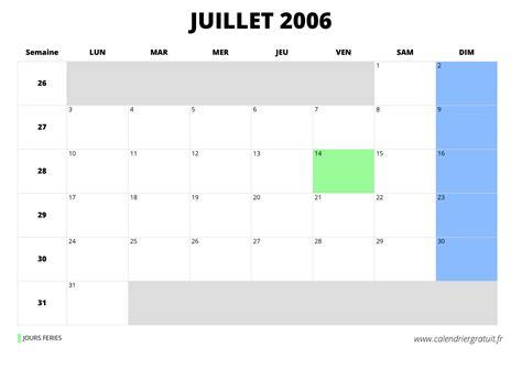 Calendrier Juillet 2006 Calendrier De Juillet 2006 224 Imprimer