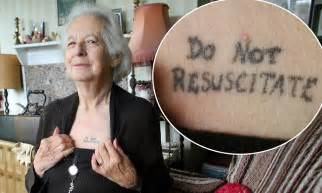 joy tomkins 81 has do not resuscitate tattoo on her