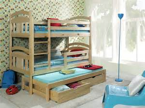 Wooden Bunk Beds With Trundle Wooden Children Bunk Beds With Trundle And