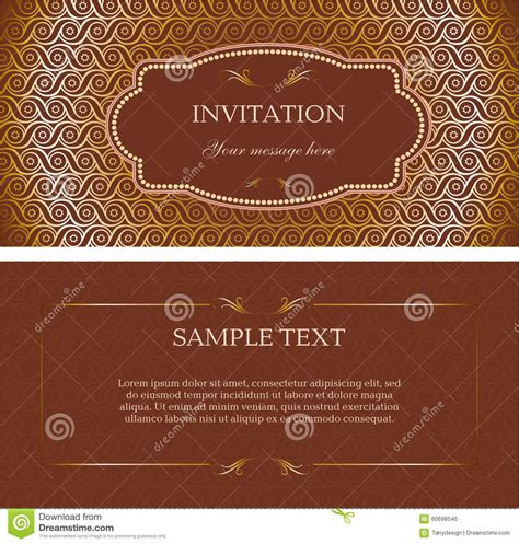 Brown Card Template by Template Vector Brown Invitation Card Stock Illustration